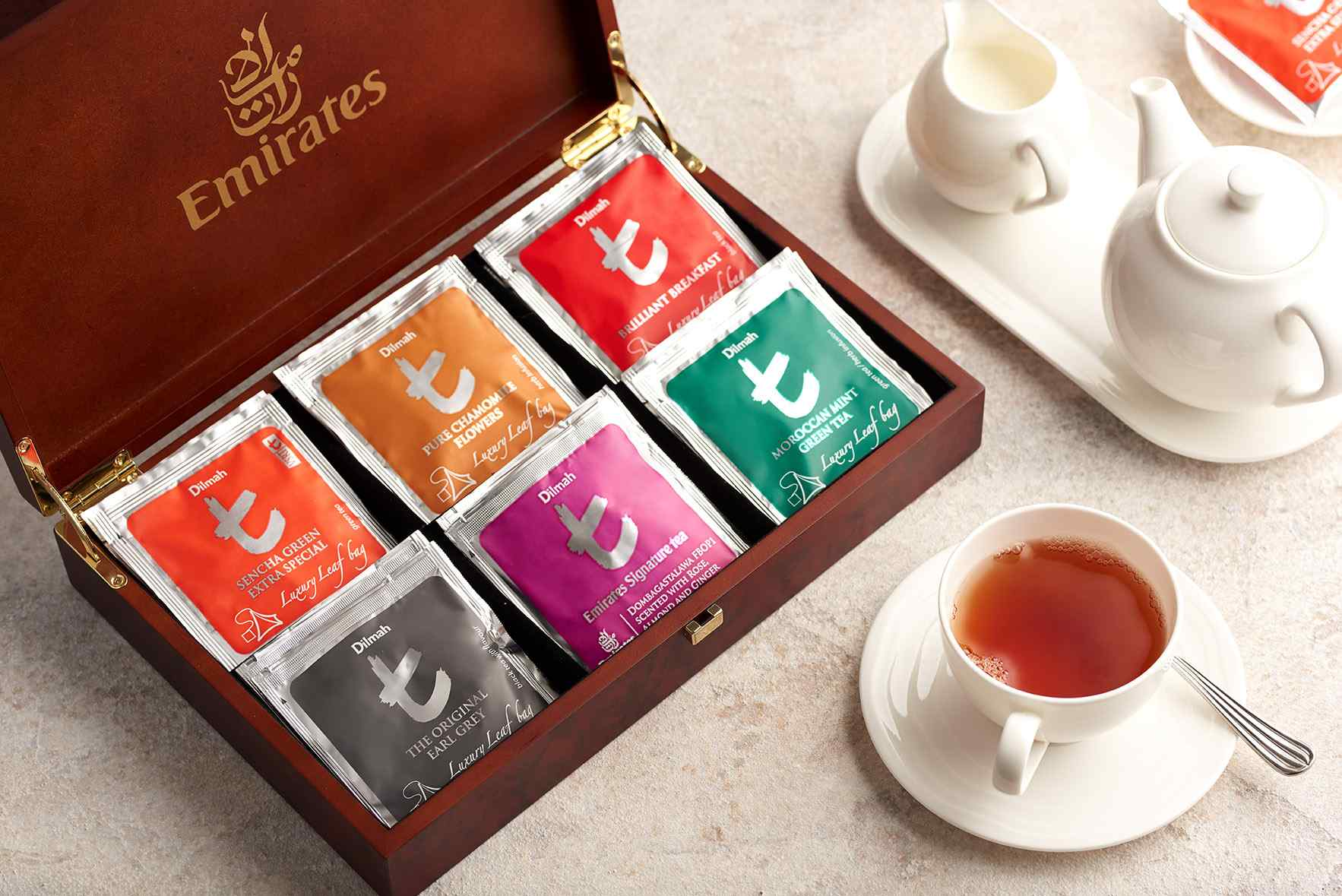 Auswahl an Dilmah Tessorten bei Emirates