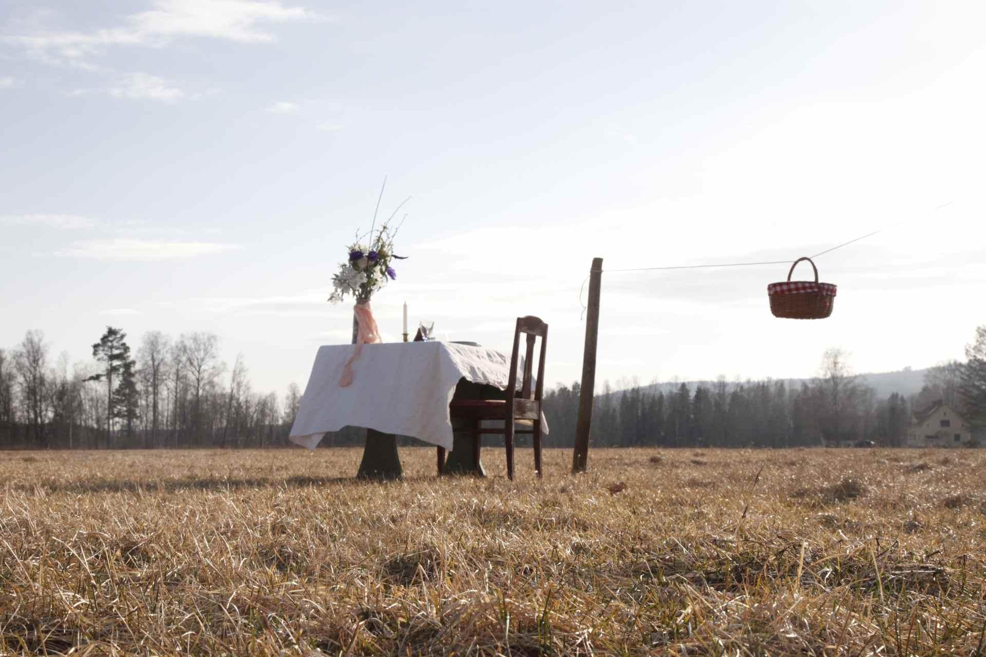 Tisch für einen auf einer Wiese in Värmland