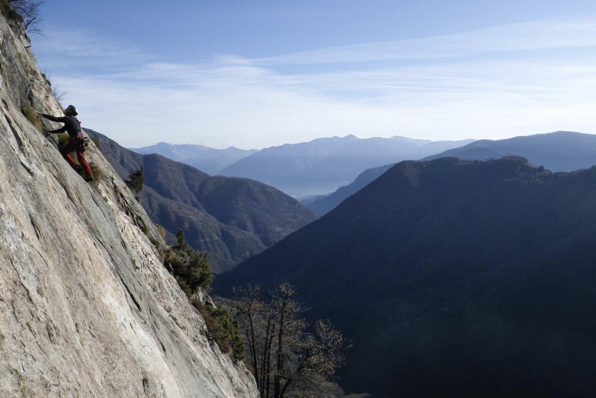 Kletterer in den Tessiner Bergen