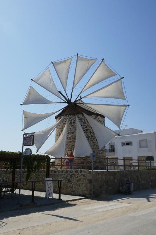 Letzte aktive Windmühle auf Kos im Bergdorf Antimachia