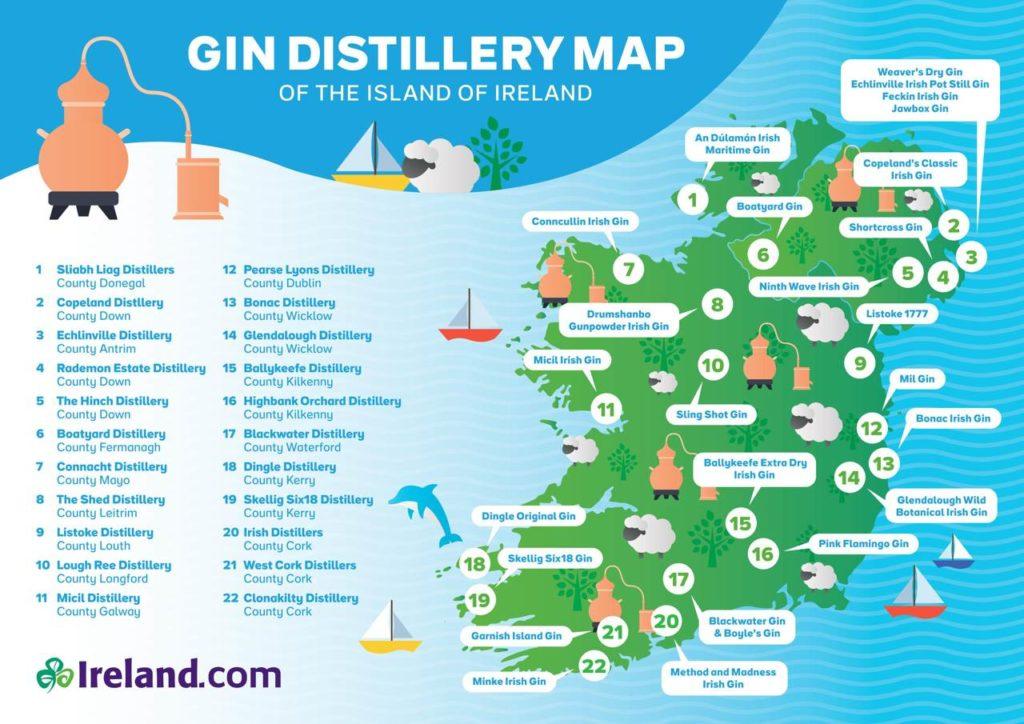 Irish Gin Distilleries Map