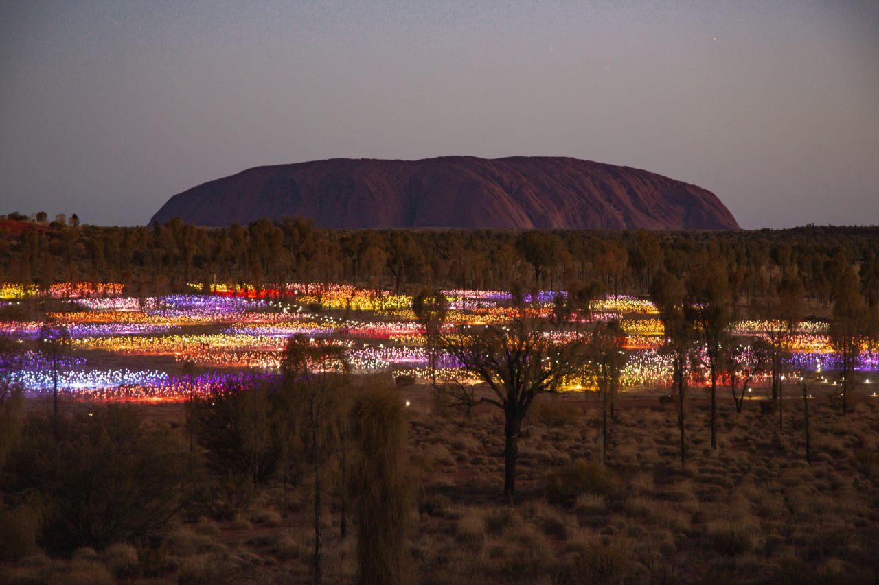 Lichtinstallation Field of Light am Uluru