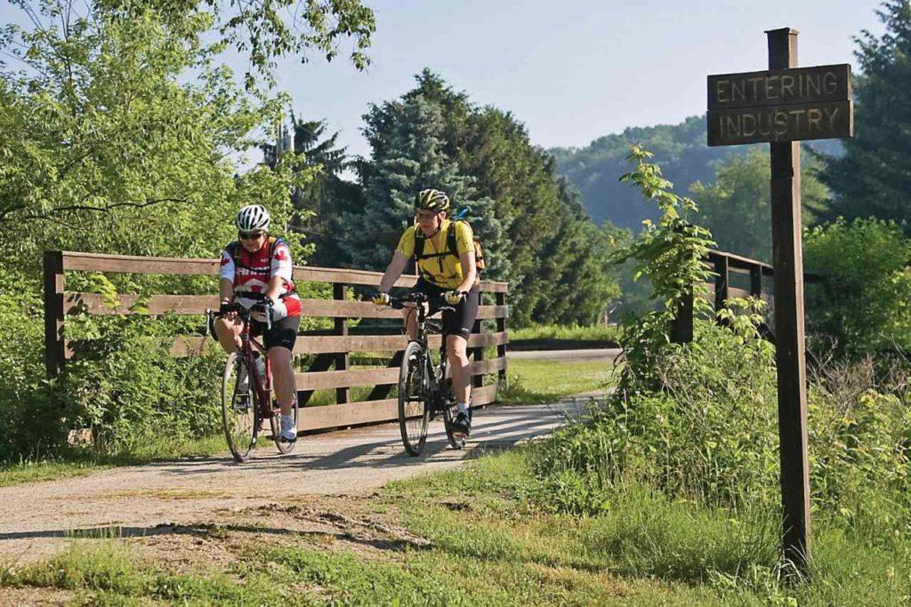 Radfahrer auf der Great Allegheny Passage