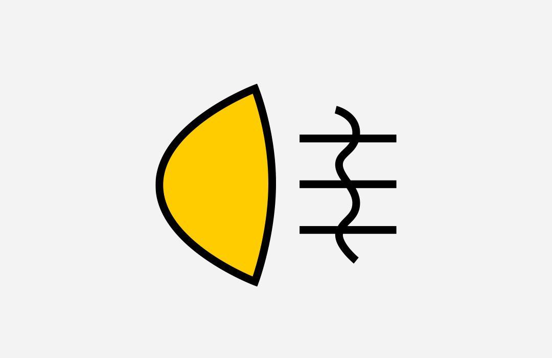 Symbol der Nebelschlussleuchte im Fahrzeug