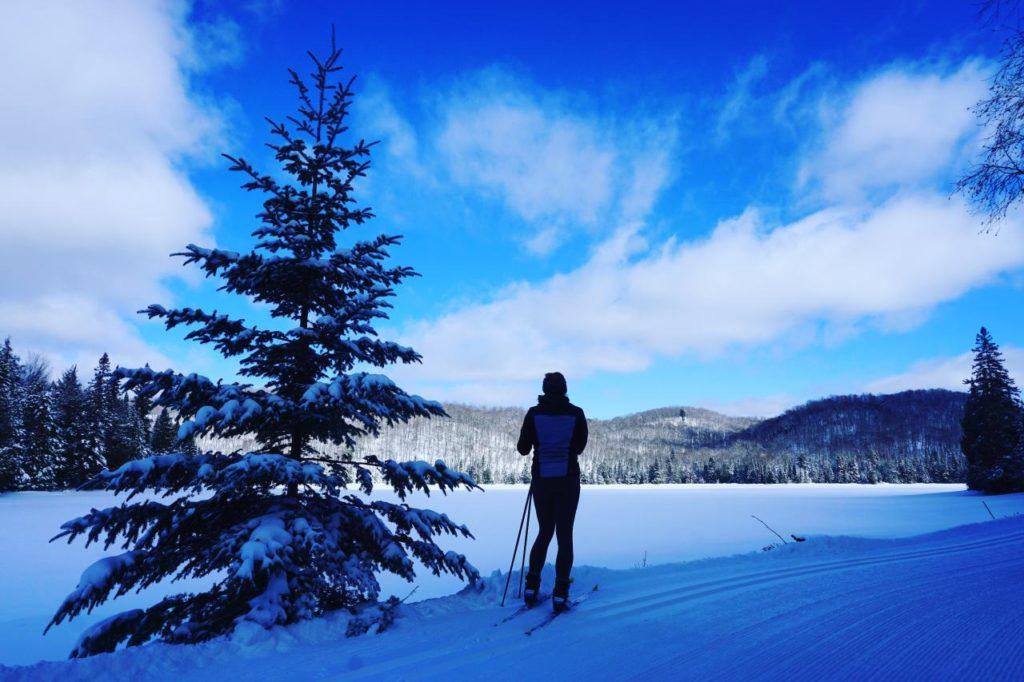 Skilangläuferin in der Wildnis von Ontario