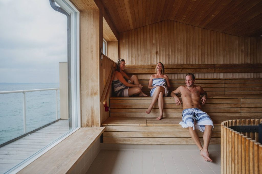 Sauna mit Blick auf das Meer in Skåne