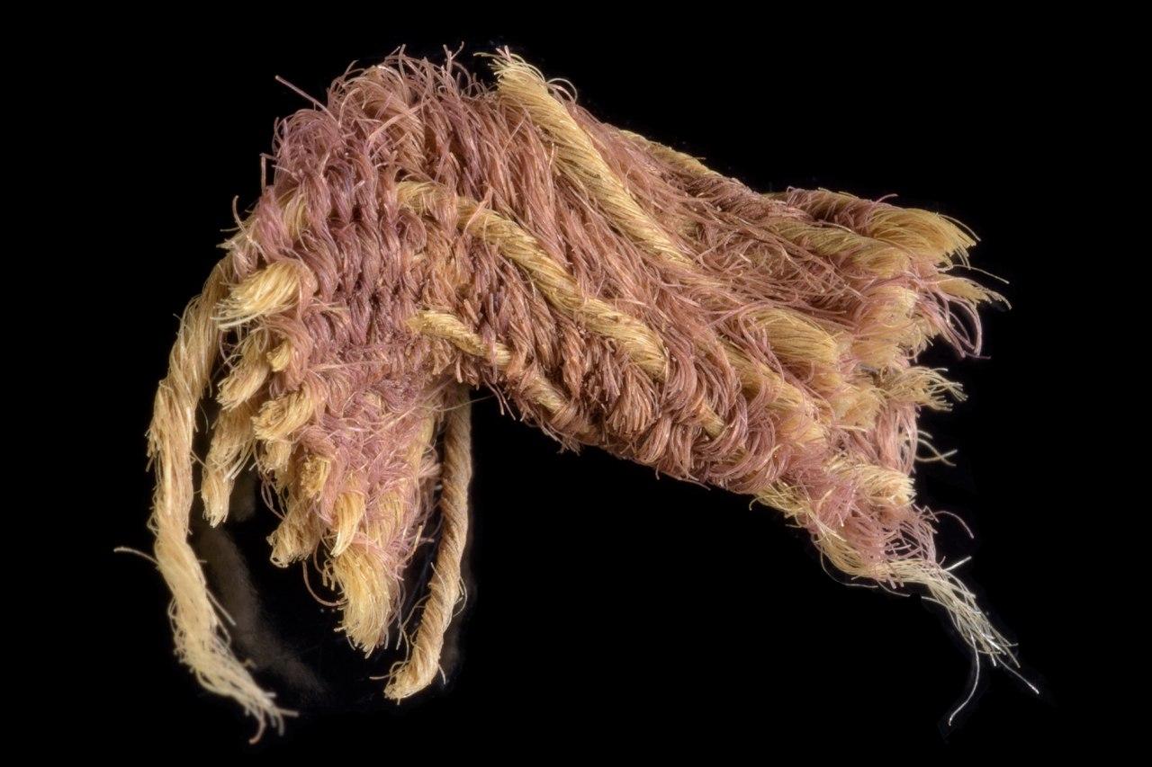 Fragment des seltenen Purpurstoffes aus dem Timna-Tal