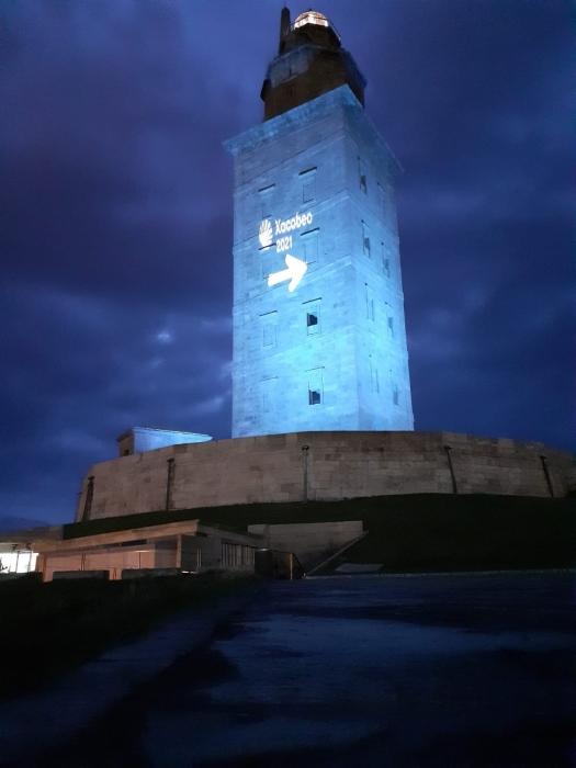 Beleuchteter Leuchtturm Torre de Hércules La Coruña