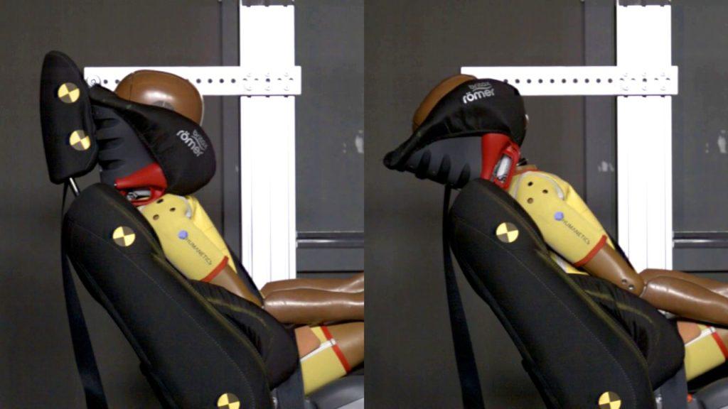 Kindersitz Kopfstütze reduziert auftretende Kräfte