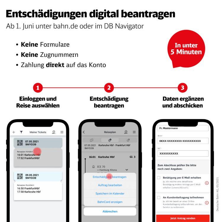 Bahn-Ticket Entschädigung digital beantragen