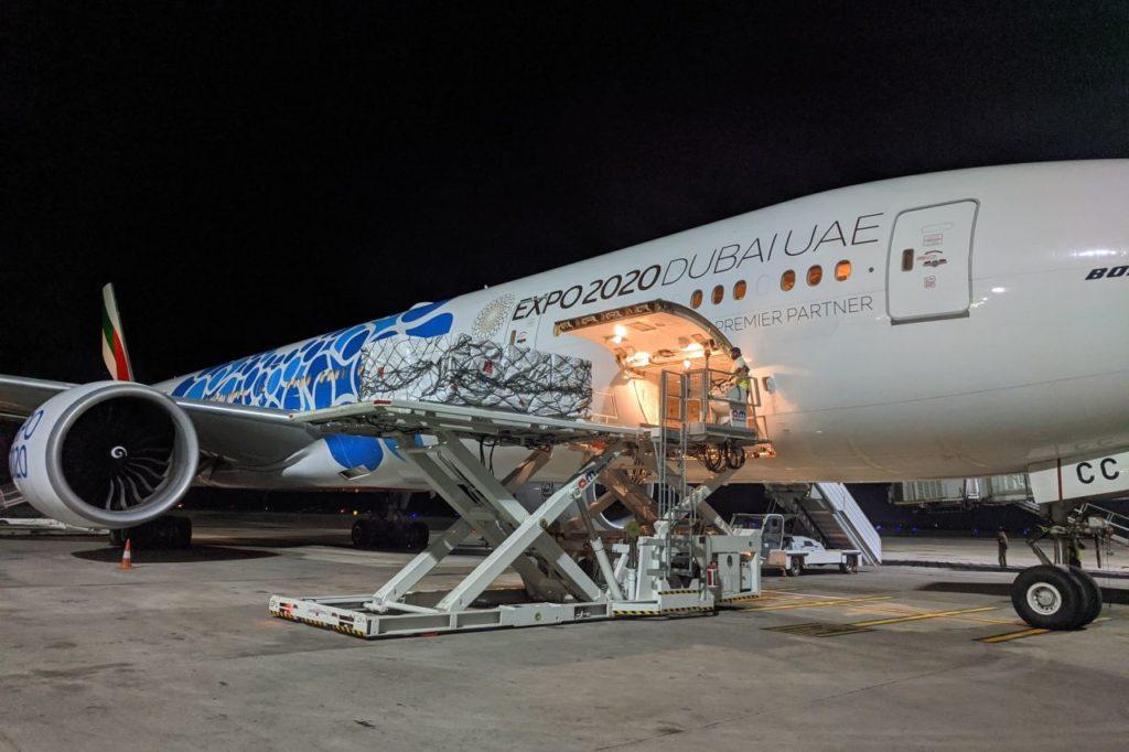 Emirates Luftbrücke Hilfsgüter Indien