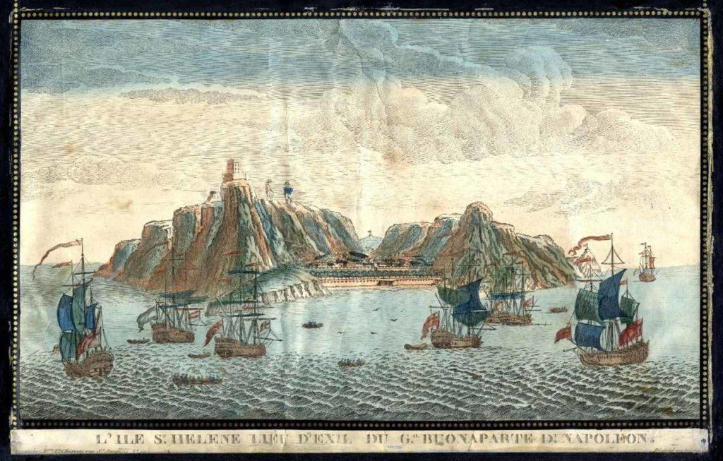Blick auf die Insel St. Helena mit Napoleon - colorisierter Stich