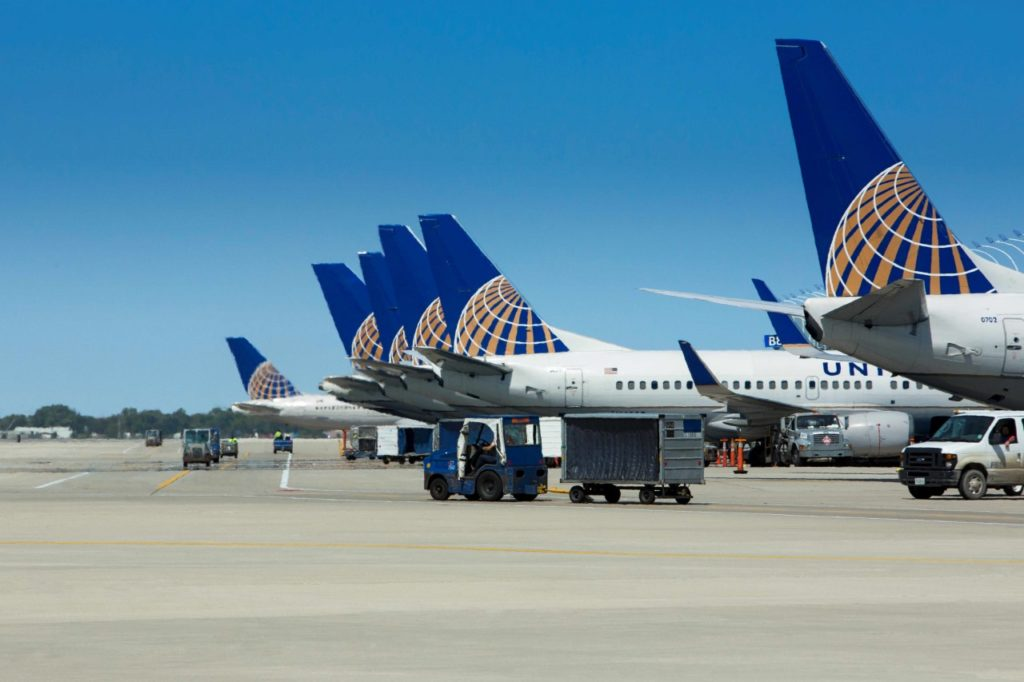 United Airlines Flugzeuge am Chicago O'Hare International Airport