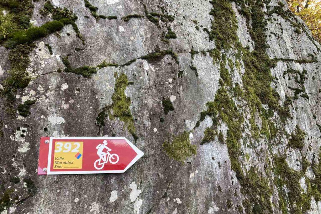 Wegweiser Morobbia Mountainbike-Strecke