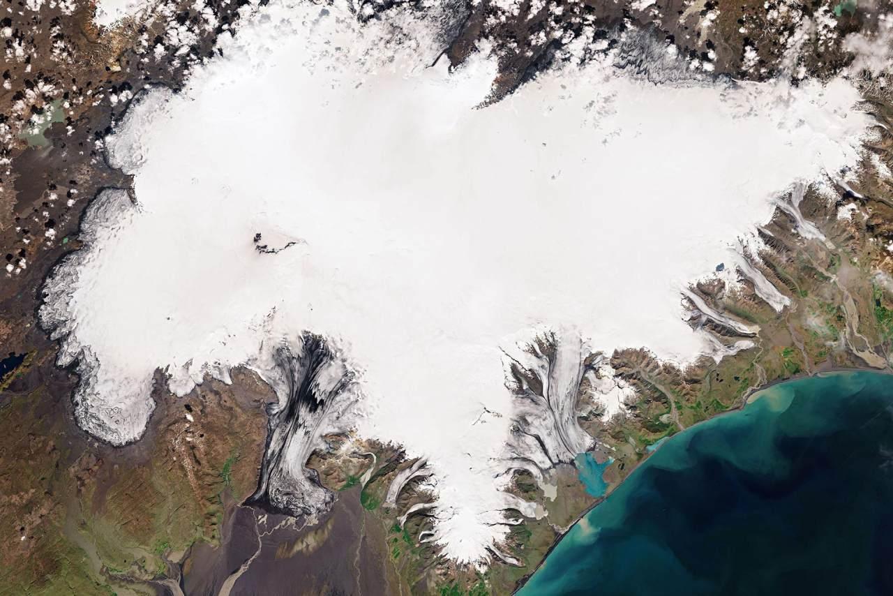 Vatnajökull Gletscher auf Island aus Satellitenperspektive