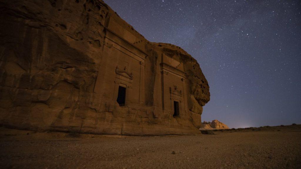 Antike Stadt Hegra bei Nacht
