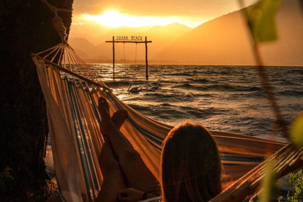 Sonnenuntergang Shaka Beach Lago Maggiore