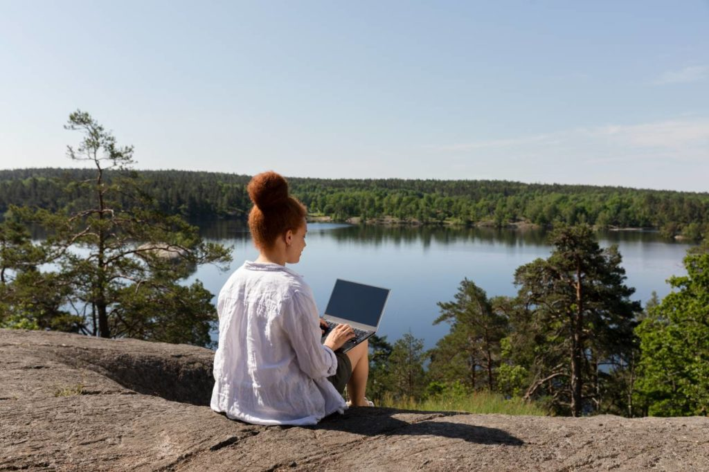 Arbeitsplatz Natur See Schweden