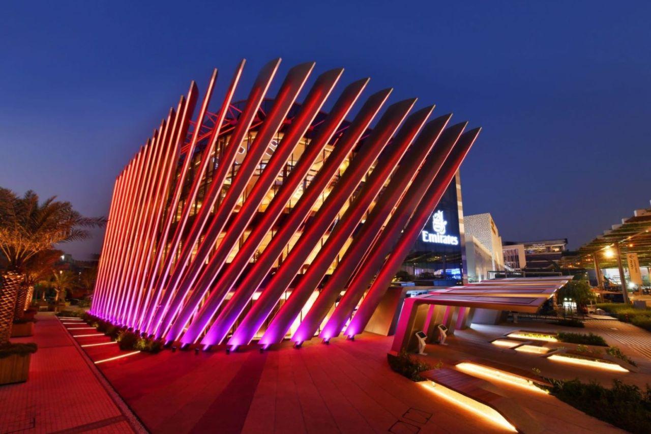 Emirates Pavillon Expo 2020 bei Nacht
