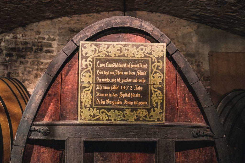 Weinfass aus 1472 Hospizkellerei Straßburg