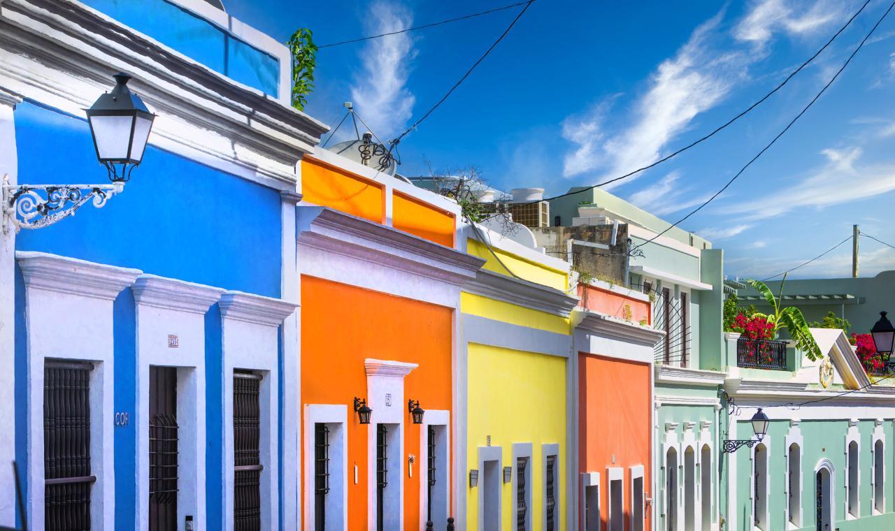 Farbenfrohe Häuser Old San Juan
