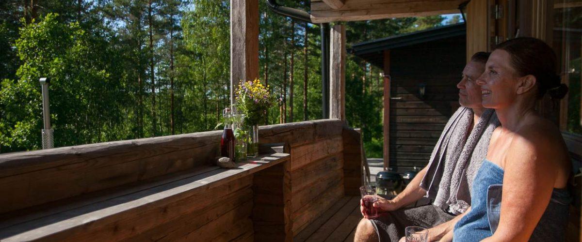 Abkühlen Saunagang Råmossa Lodge
