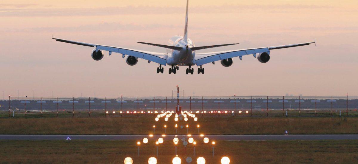 Flughafen Frankfurt landender Airbus A380